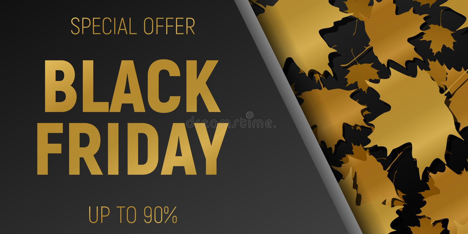 Black Friday Sale web Horizontal Banners. Gold Flying maple leaves. Black Background. Vector illustration. stock illustration