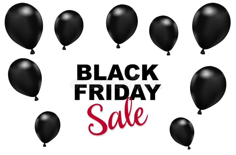 Black Friday sales background. balloons with on a White background. Creative Concept Banner Design Black Friday celebration. copy royalty free illustration