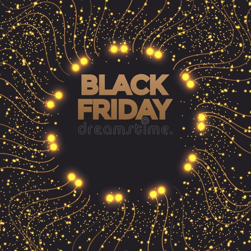 Black Friday sales banner. Gold sparkling circle frame with text. Vector poster illustration. vector illustration