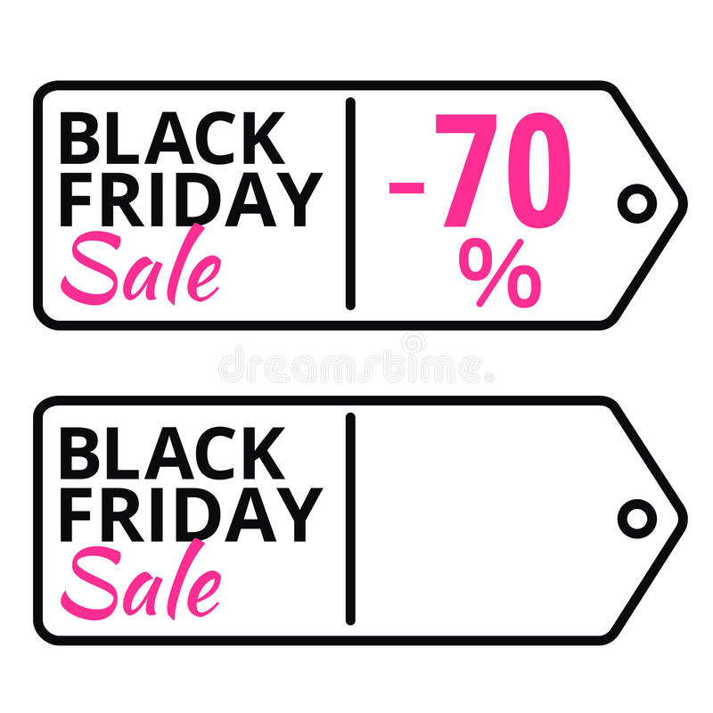 Black Friday sales line vector tag with text royalty free illustration
