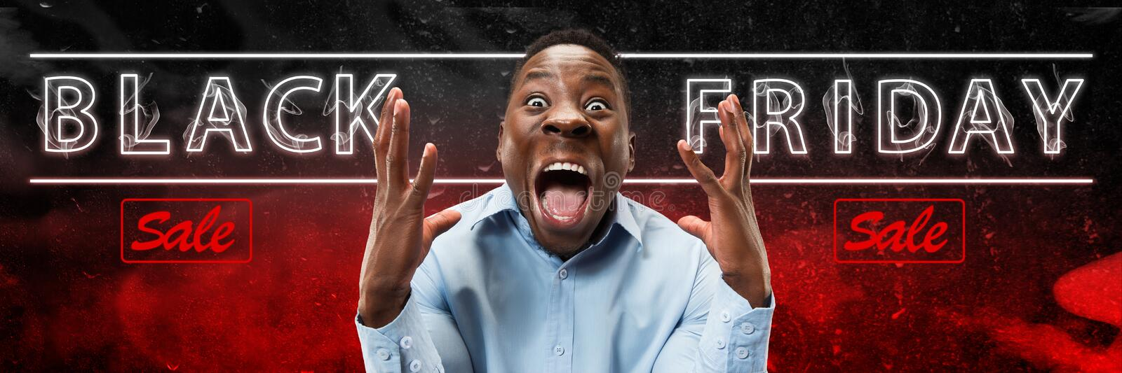 Black friday, sales. Modern design. Contemporary art collage. Black friday, sales concept. Neon lighted letters on gradient background. Astonished man screaming stock images