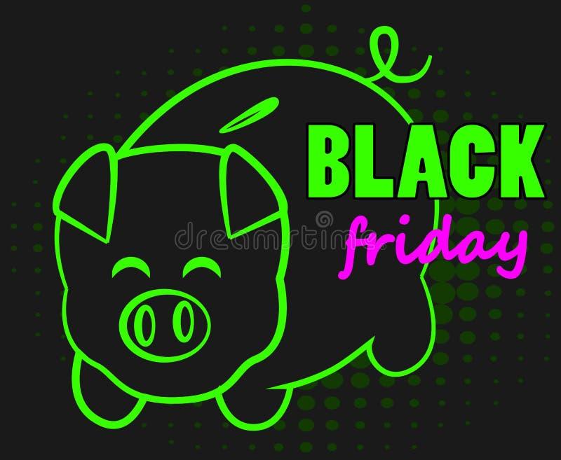 Black Friday-Schweinbank vektor abbildung