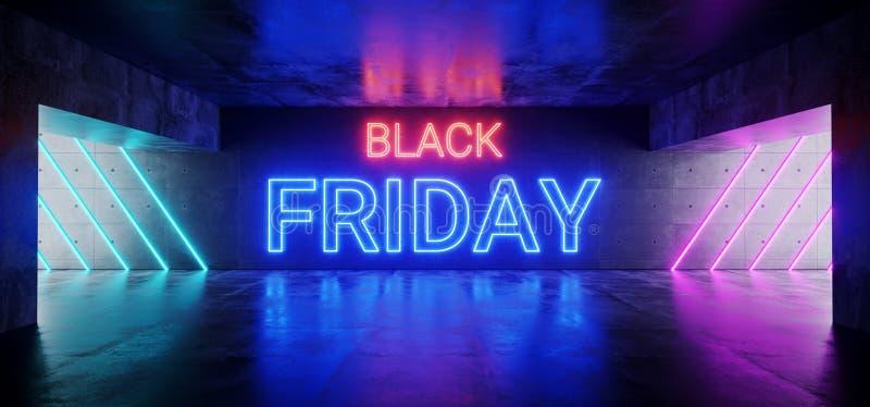 Black Friday Sci Fi Neonowej tubki Futurystyczny Nowożytny Neonowy Różowy Czerwony Błękitny Rozjarzony znak Na Grunge Odbijająceg ilustracja wektor