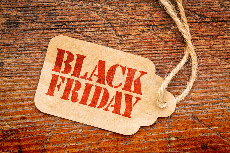 Black Friday se connectent le prix à payer photo stock