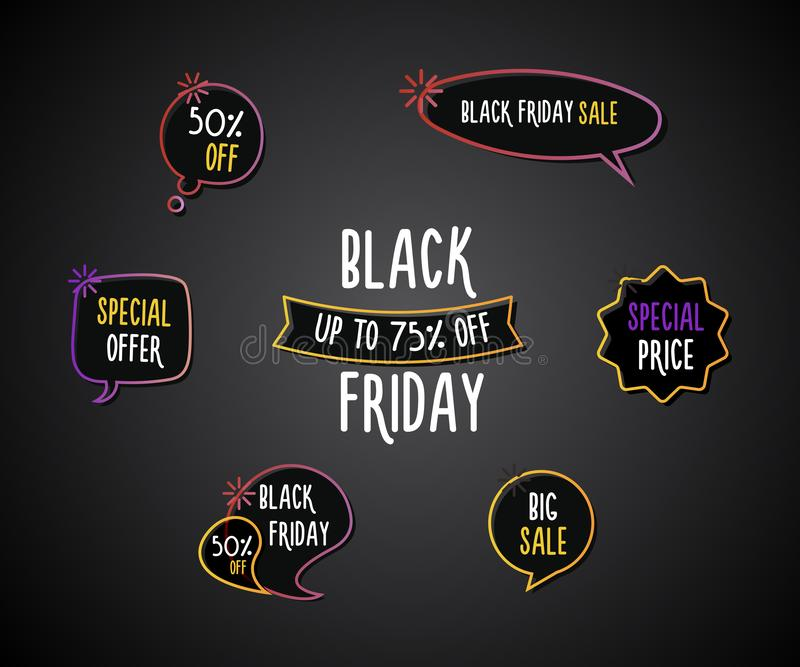 Black Friday set of fun labels, tags, speech bubbles, banners, logos, icons. Hand drawn doodle vector design set stock illustration