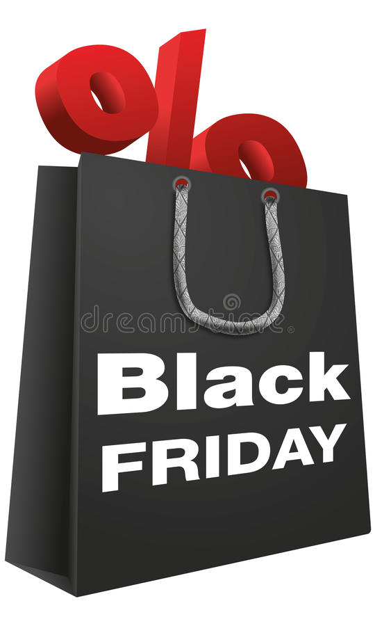 Black Friday Shopping Bag. A vectorial design representing a shopping bag with some discount in it. It was inspired by the Black Friday stock photos