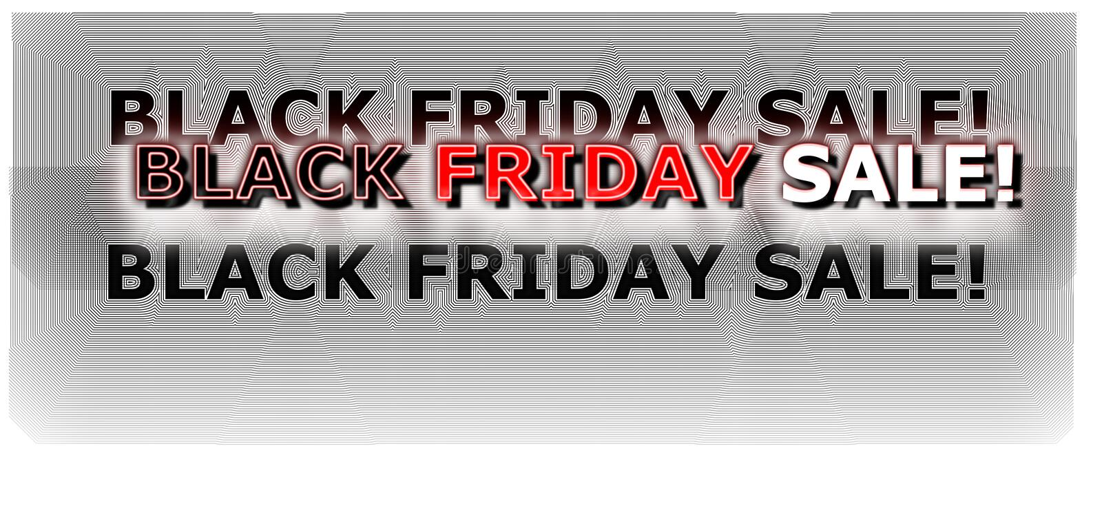 Black Friday shopping banner digital neon colored in red and white stock illustration
