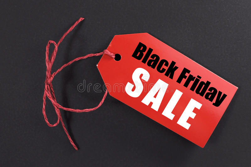 Black Friday shopping sale concept with red ticket Sale tag royalty free stock images