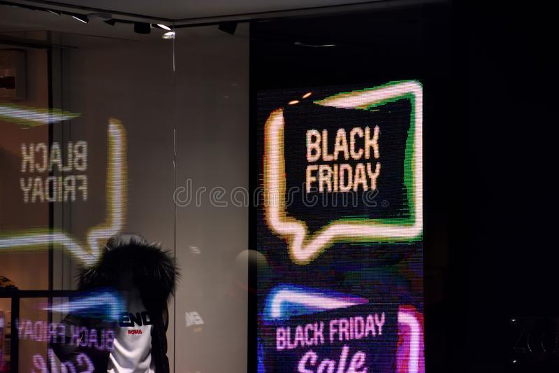 `black friday` sign in France. Marseille, France - November 24, 2018 : A shop with `black friday` sign stock photography
