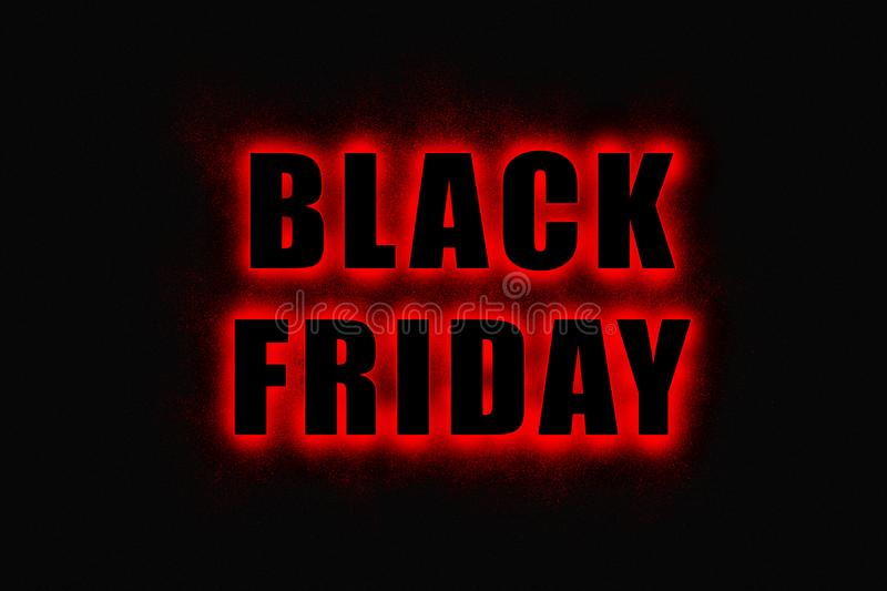Black Friday sign, large black letters with bright red glowing outline royalty free illustration