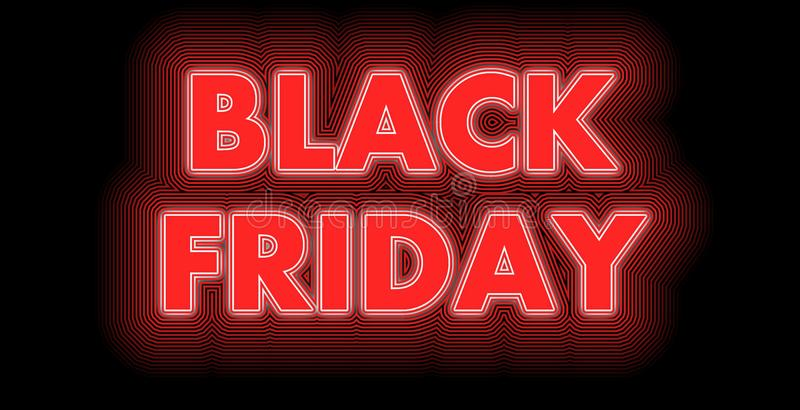 Black Friday sign in red. Black Friday after Thanksgiving​ sign in red and white strips stock illustration