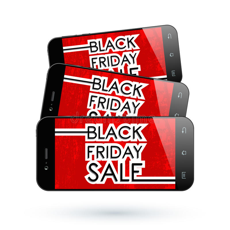 Black Friday smartphone royalty ilustracja