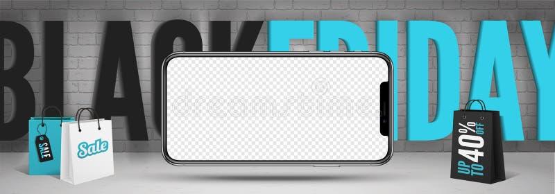 Black friday smartphones sale banner template with blank screen. Black friday smartphones sale banner template. Blank mobile phone mockup with transparent screen royalty free illustration