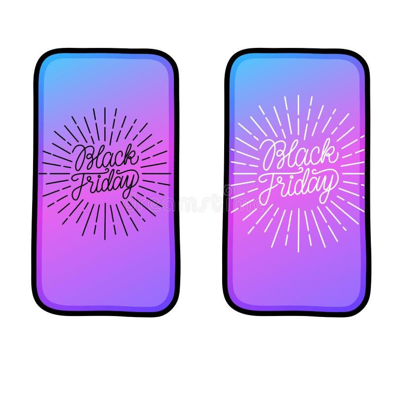 Black Friday som märker linjen tunn inskrift med strålen i ny telefon det extra banret är kan den ändrande formatförsäljningen Ve royaltyfri illustrationer