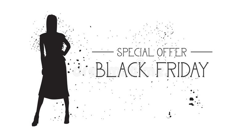 Black Friday Special Offer Banner With Grunge Rubber Fashion Model Female Silhouette On White Background vector illustration
