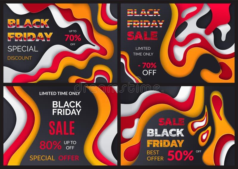 Black Friday special rabatt, procenterbjudande royaltyfri illustrationer