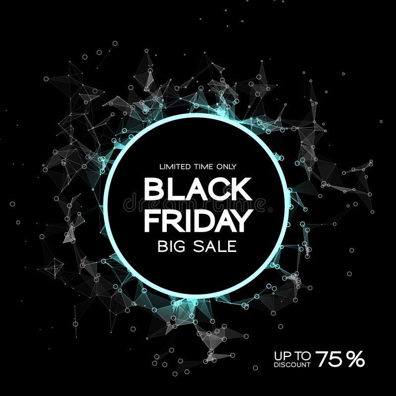 Black Friday sprzedaży abstrakta tło Futurystyczny technologia styl Duży Dane Projekt z plexus ilustracji