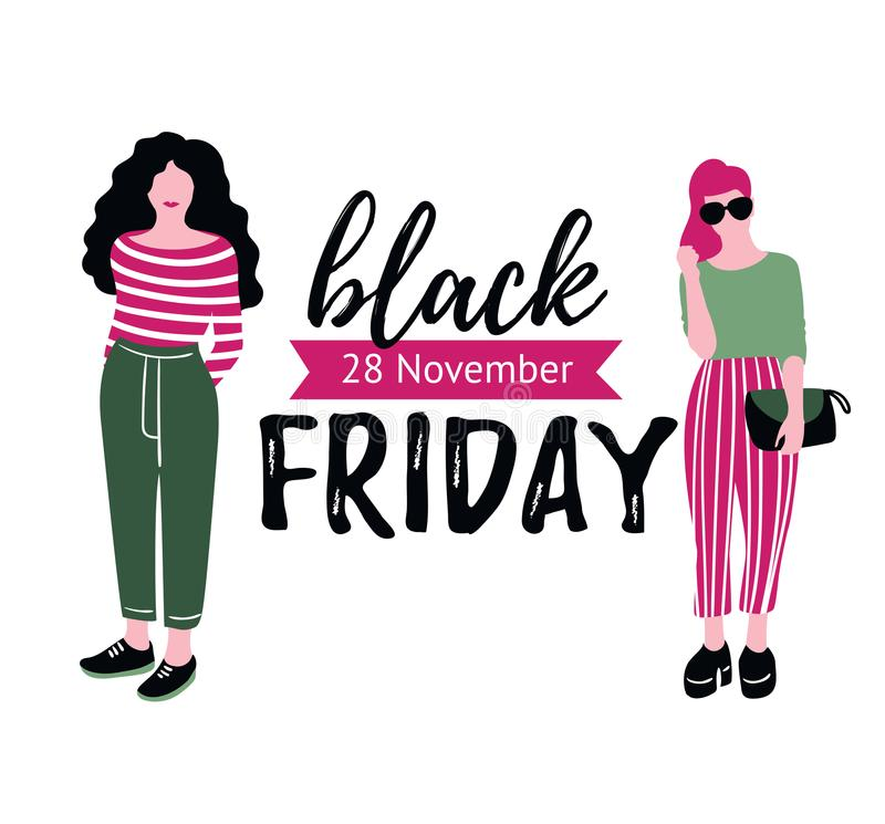 Black Friday sprzedaży inskrypcja z mod dziewczynami Projektuje wektorowych elementy odizolowywających na białym tle Zakupy sprze royalty ilustracja