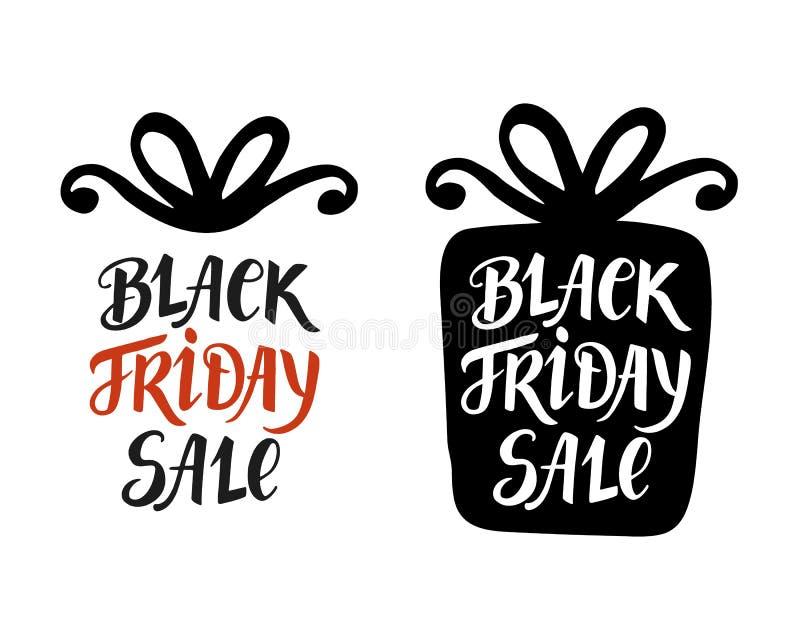 Black Friday sprzedaży literowanie, inskrypcja w prezenta pudełku, nowożytny sztandar ilustracji