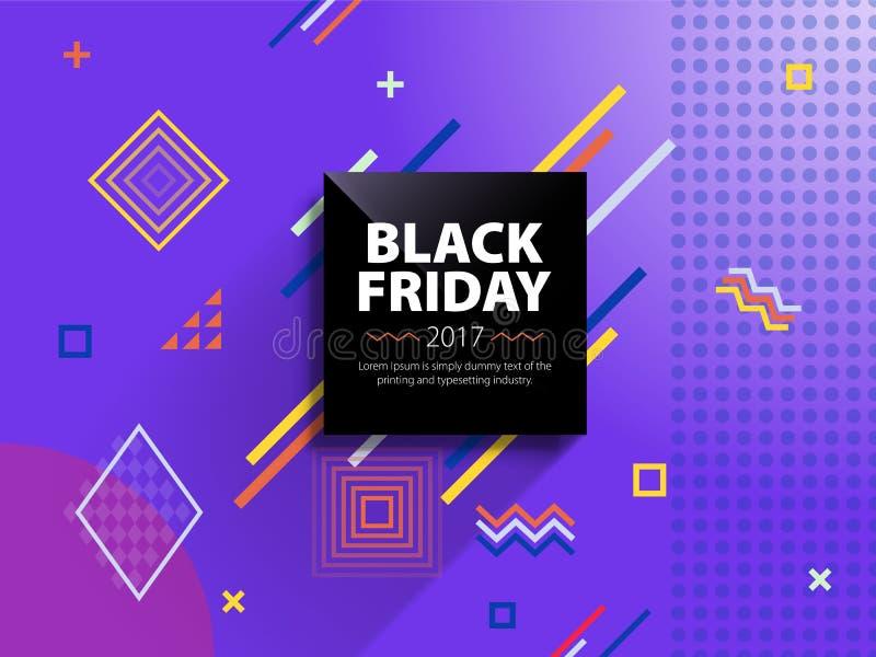 Black Friday sprzedaży sieci sztandar Plakatowa sprzedaż Szablon w Memphis stylu Modny i nowożytny sztandar dla reklamować czarny ilustracja wektor