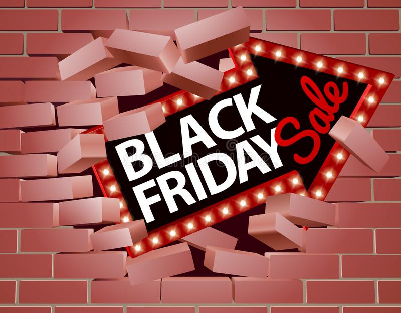 Black Friday sprzedaży Strzałkowaty łamanie Przez ściany ilustracja wektor