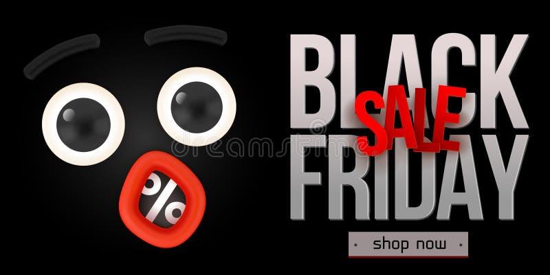 Black Friday sprzedaży szoka twarz ilustracja wektor