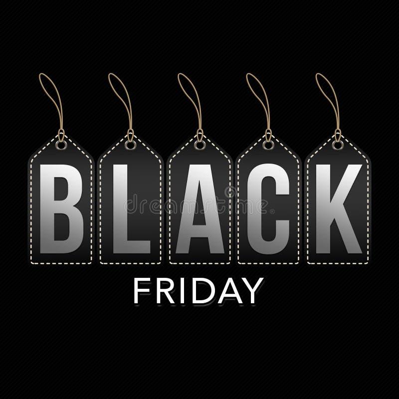 Black Friday sprzedaży sztandar na zaszytych zarysowanych etykietkach ilustracji