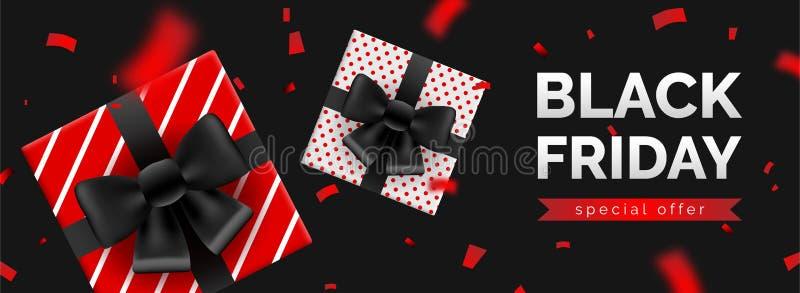 Black Friday sprzedaży sztandar, szablon dla ogólnospołecznych środków wysyła promocję royalty ilustracja