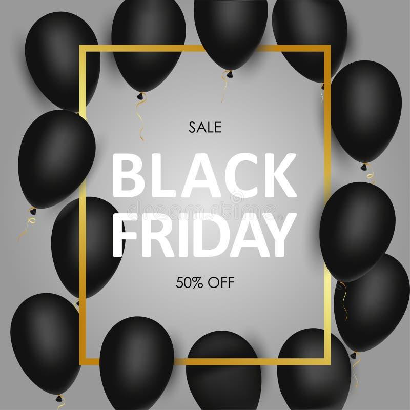 Black Friday sprzedaży sztandar z czarną realistyczną złoto ramą i balonami wektor ilustracji