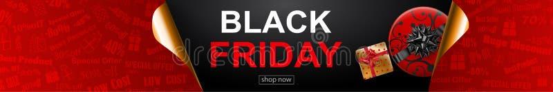 Black Friday sprzedaży sztandar z fryzującymi papierowymi kątami ilustracji
