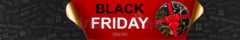 Black Friday sprzedaży sztandar z fryzującymi papierowymi kątami ilustracja wektor