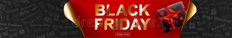 Black Friday sprzedaży sztandar z fryzującymi papierowymi kątami royalty ilustracja