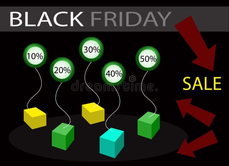 Black Friday sprzedaży sztandar z odsetka rabatem ilustracji