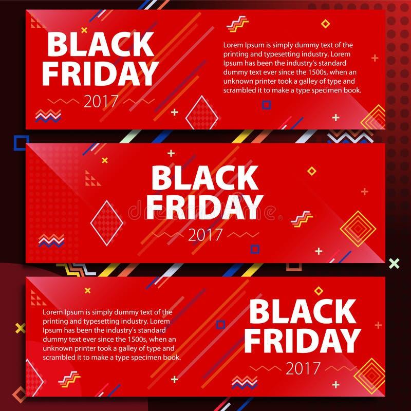 Black Friday sprzedaży sztandaru set Plakatowa sprzedaż Szablon w Memphis stylu Modni i nowożytni sztandary dla reklamować Czerwo ilustracji