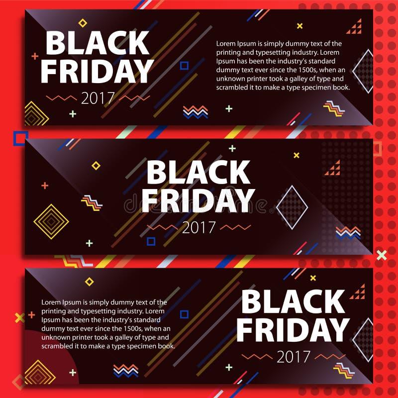 Black Friday sprzedaży sztandaru set Plakatowa sprzedaż Szablon w Memphis stylu Modni i nowożytni sztandary dla reklamować Czarny ilustracja wektor