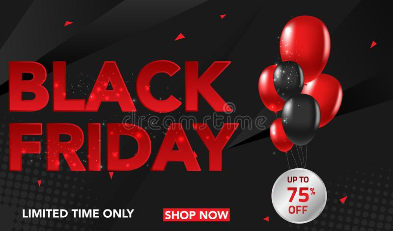 Black Friday sprzedaży sztandaru szablonu tło z ballons i conffeti czerwonymi i czarnymi Specjalna oferta końcówka sezon, szablon royalty ilustracja