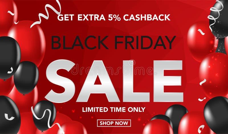 Black Friday sprzedaży sztandaru szablonu tło z ballons i conffeti czerwonymi i czarnymi Specjalna oferta końcówka sezon, szablon ilustracja wektor