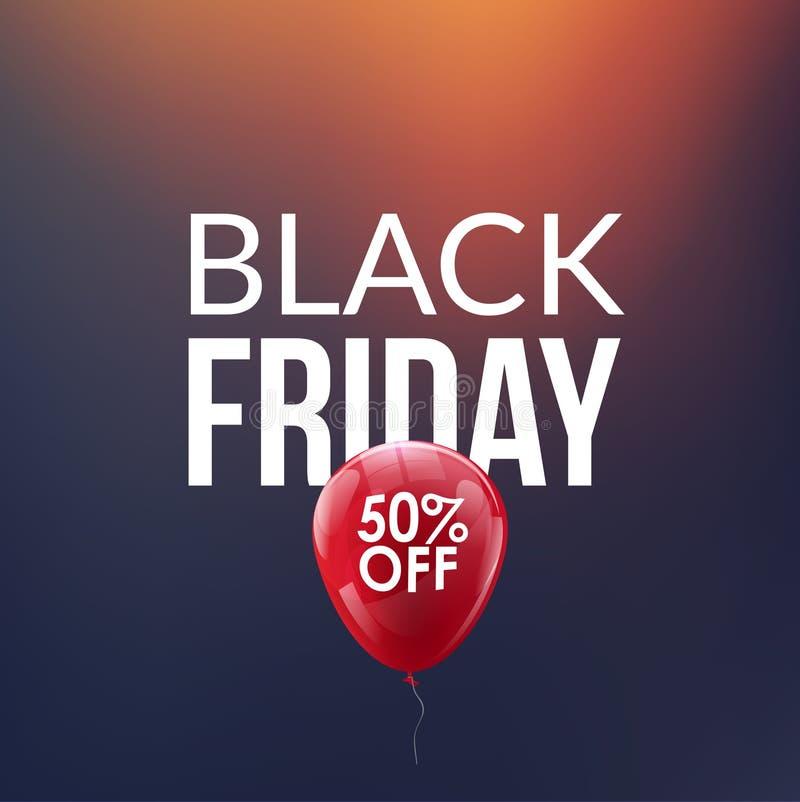 Black Friday sprzedaży tło Dyskontowy balon 50 procentów Specjalnej oferty tło pomija nowego roku royalty ilustracja