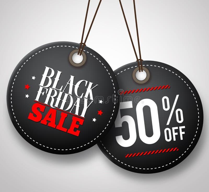 Black Friday sprzedaży wektorowe metki wiesza w białym tle ilustracja wektor