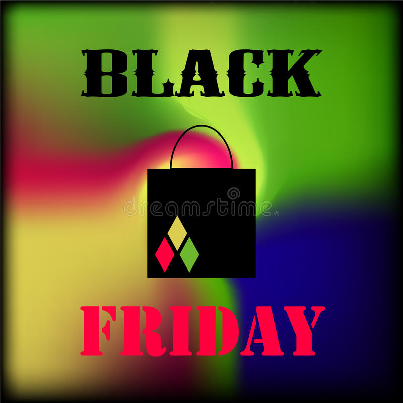 Black Friday square banner with colorful gradient. Multicolored mesh on black background. royalty free illustration