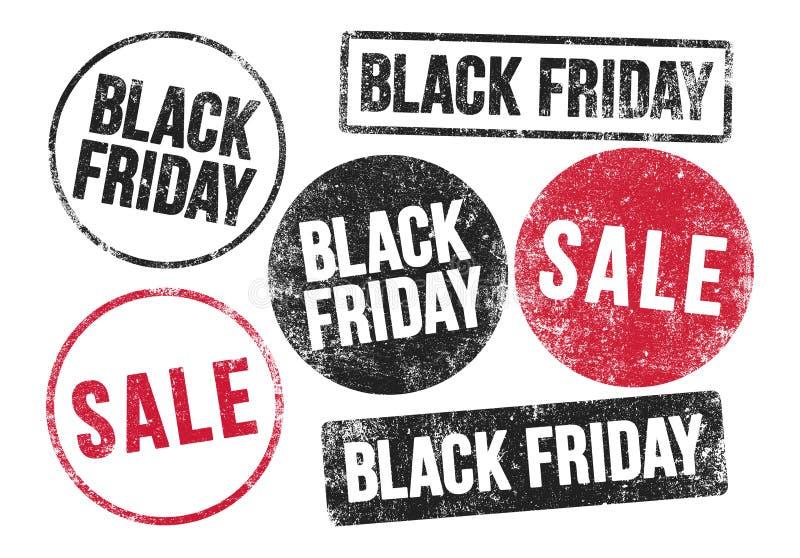Black Friday stämplar stock illustrationer