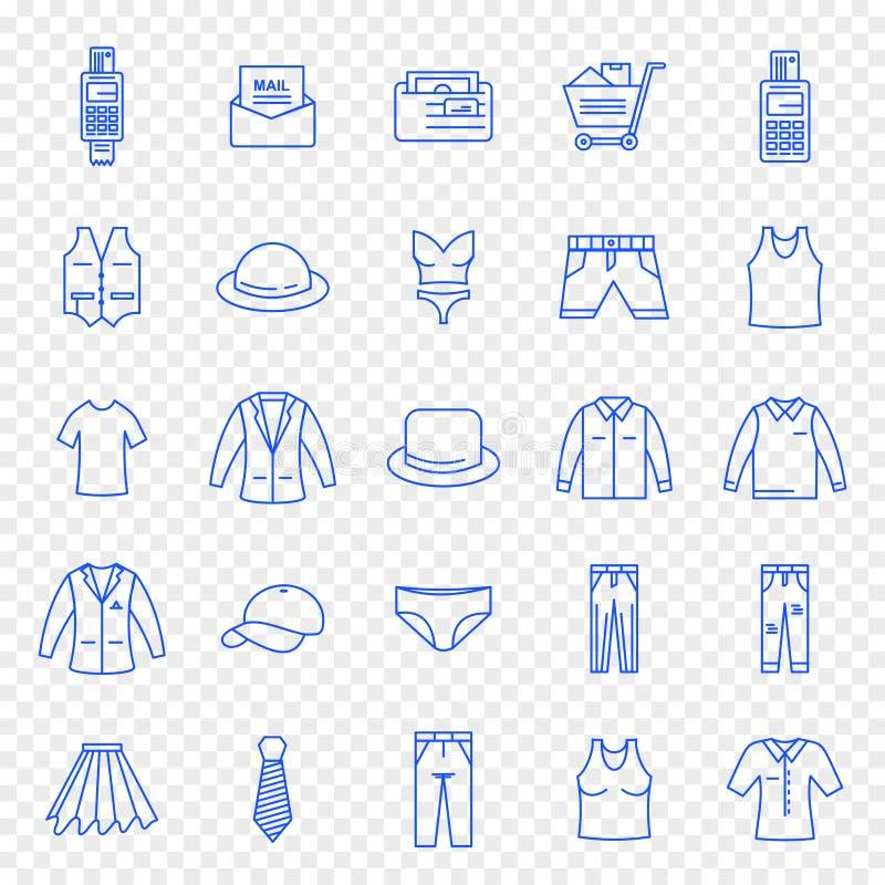 Black Friday-Stoff-Mode-Einkaufsikonensatz lizenzfreie abbildung