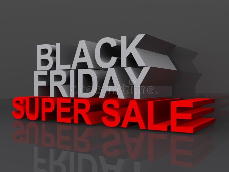 Black Friday Super Sale. A 3D illustration of the words Black Friday Super Sale royalty free illustration