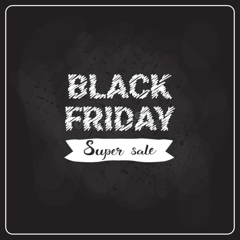 Black Friday Super Sale Flyer On Blackboard Background, Holiday Shopping Discount Label Concept stock illustration