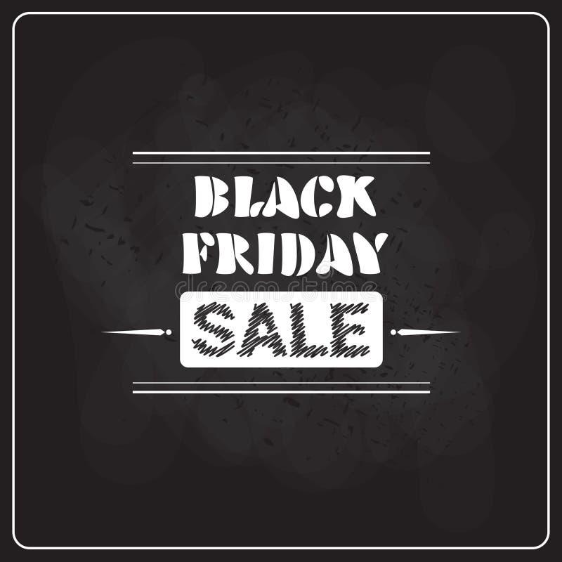 Black Friday Super Sale Flyer On Blackboard Background, Holiday Shopping Discount Label Concept royalty free illustration
