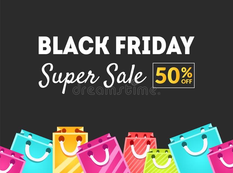 Black Friday Super sprzedaż, 50 procentów Z sztandaru szablonu z Kolorową torba na zakupy wektoru ilustracją ilustracja wektor