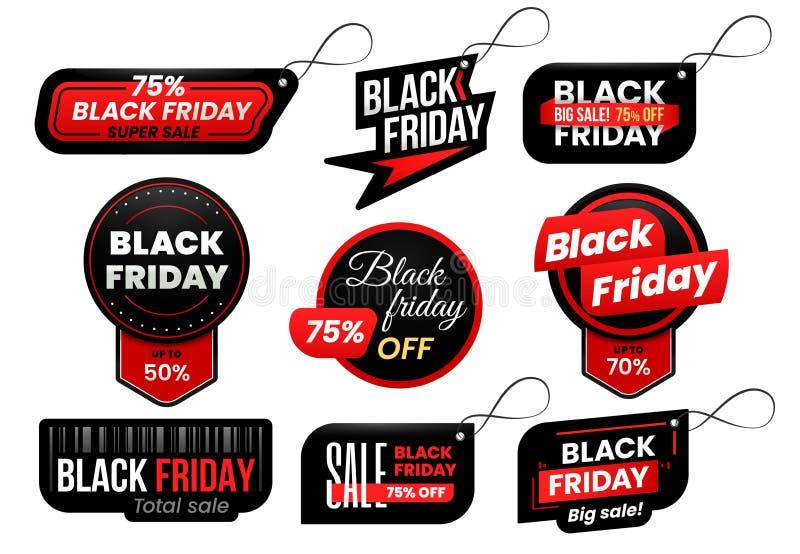 Black Friday-Tag Vermarkten Sie Verkaufstags, unterzeichnen Einkaufsverkäufe Aufkleber und vermarktenden Aufklebervektordesignsat vektor abbildung