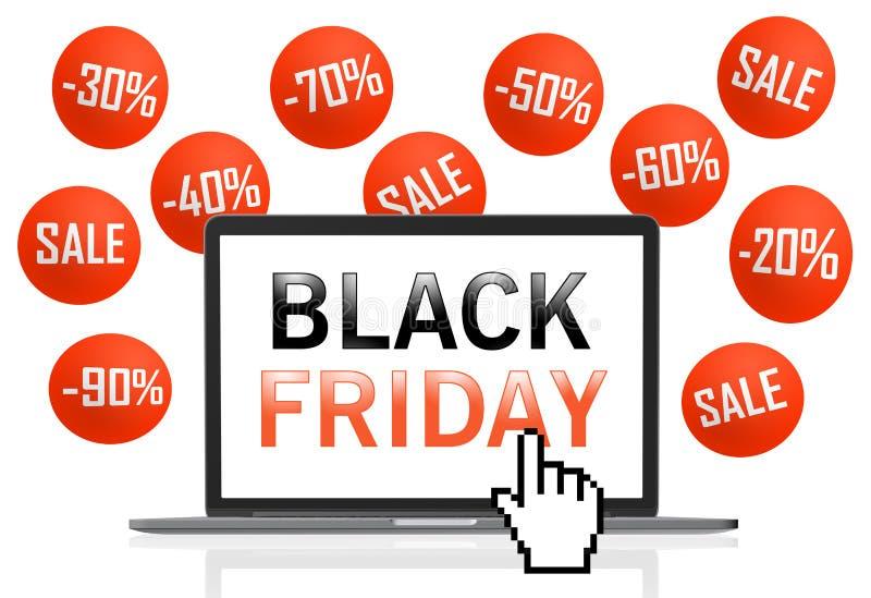 Black Friday-tekst op laptop het scherm met pixelcurseur stock illustratie