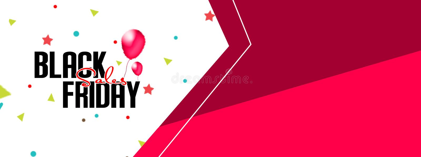 Black Friday text with red balloons on sale banners with confetti and serpentine. white and red background. illustration stock illustration