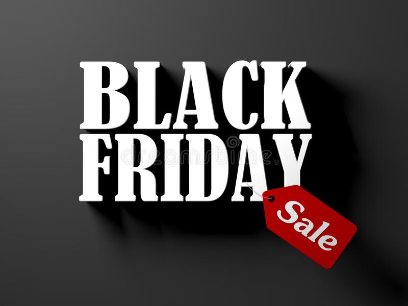 Black friday text with red sale tag isolated on black background royalty free stock photo